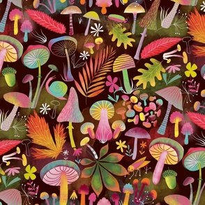Fabric design with colorful mushrooms on a dark background