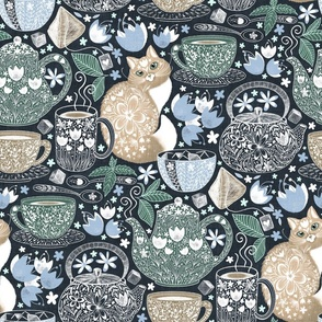 Design with brown cats and blue and green coffee cups