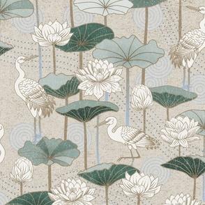 Design with nuetral tones and cranes