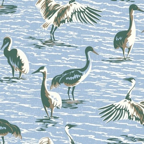 Design with blue water and neutral toned cranes