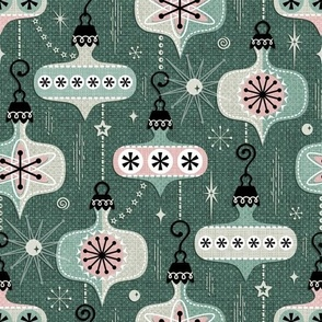 Design with green background and decorated ornaments