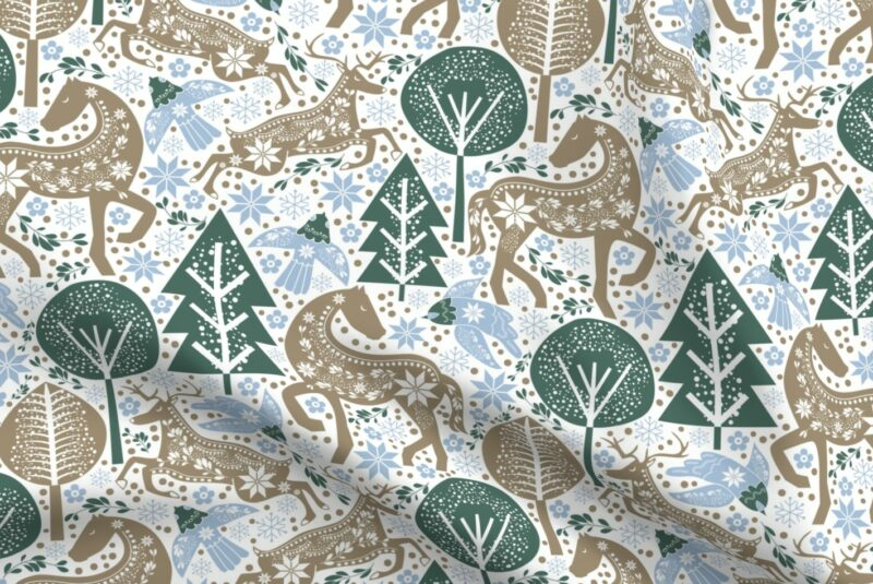 Design with green trees and brown winter forest creatures