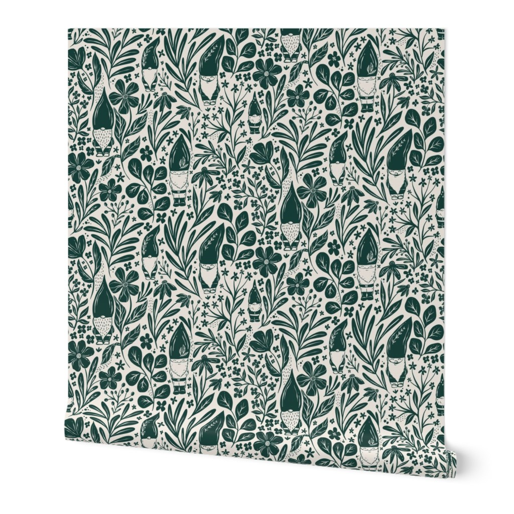 wallpaper pattern with gnomes and greenery