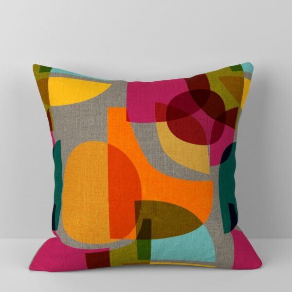 Pillow with a colorful mid century color block design