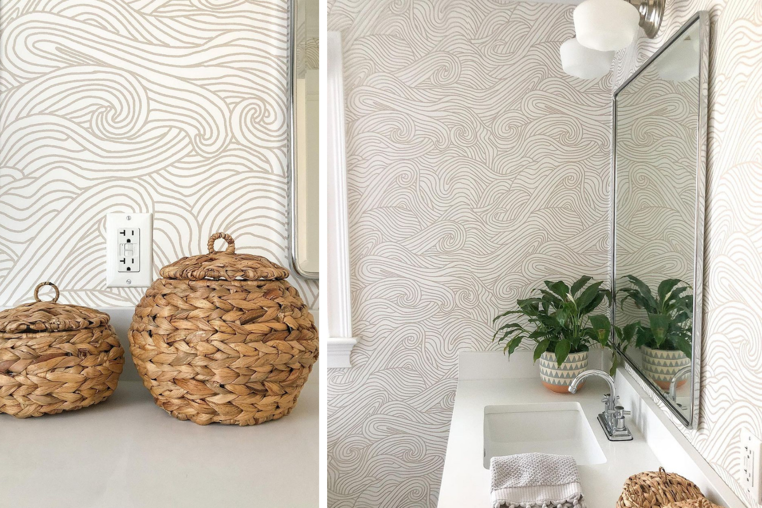 Bathroom with calming neutral wallpaper