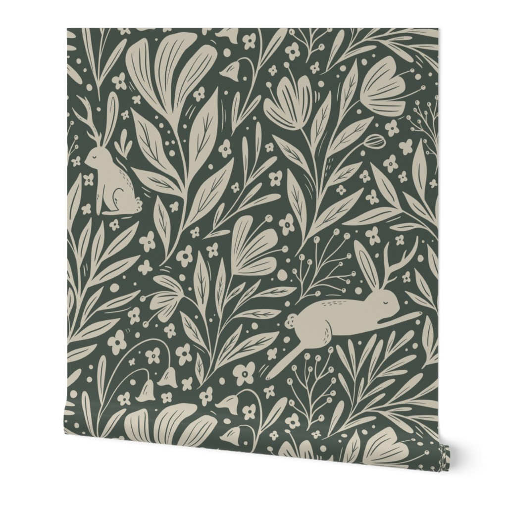 wallpaper pattern featuring jackolopes and florals