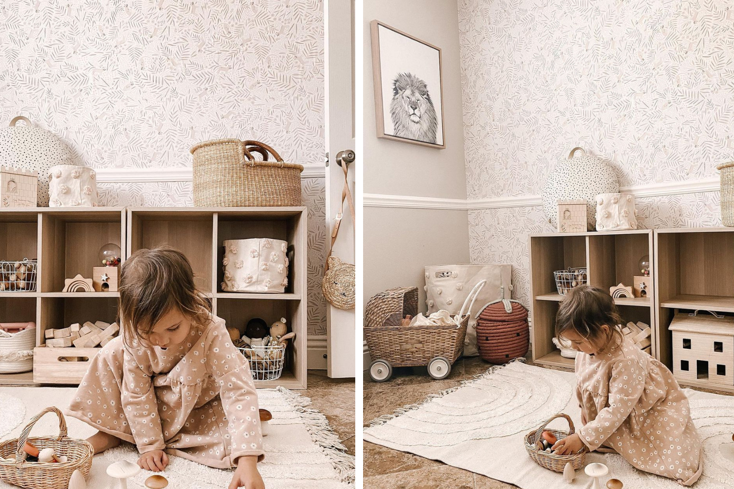 Toddler playing in a room with calming neutral wallpaper