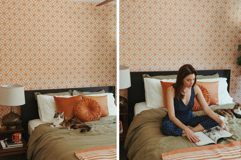 Bedroom wallpaper with orange geometric design