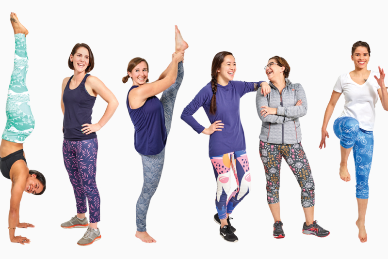 Lineup of women stretching in different pairs of handmade leggings