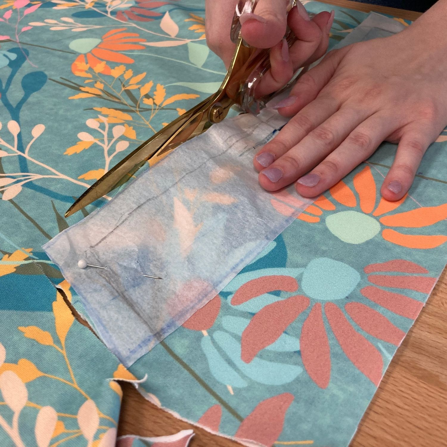 Cutting out the waistband from the fabric