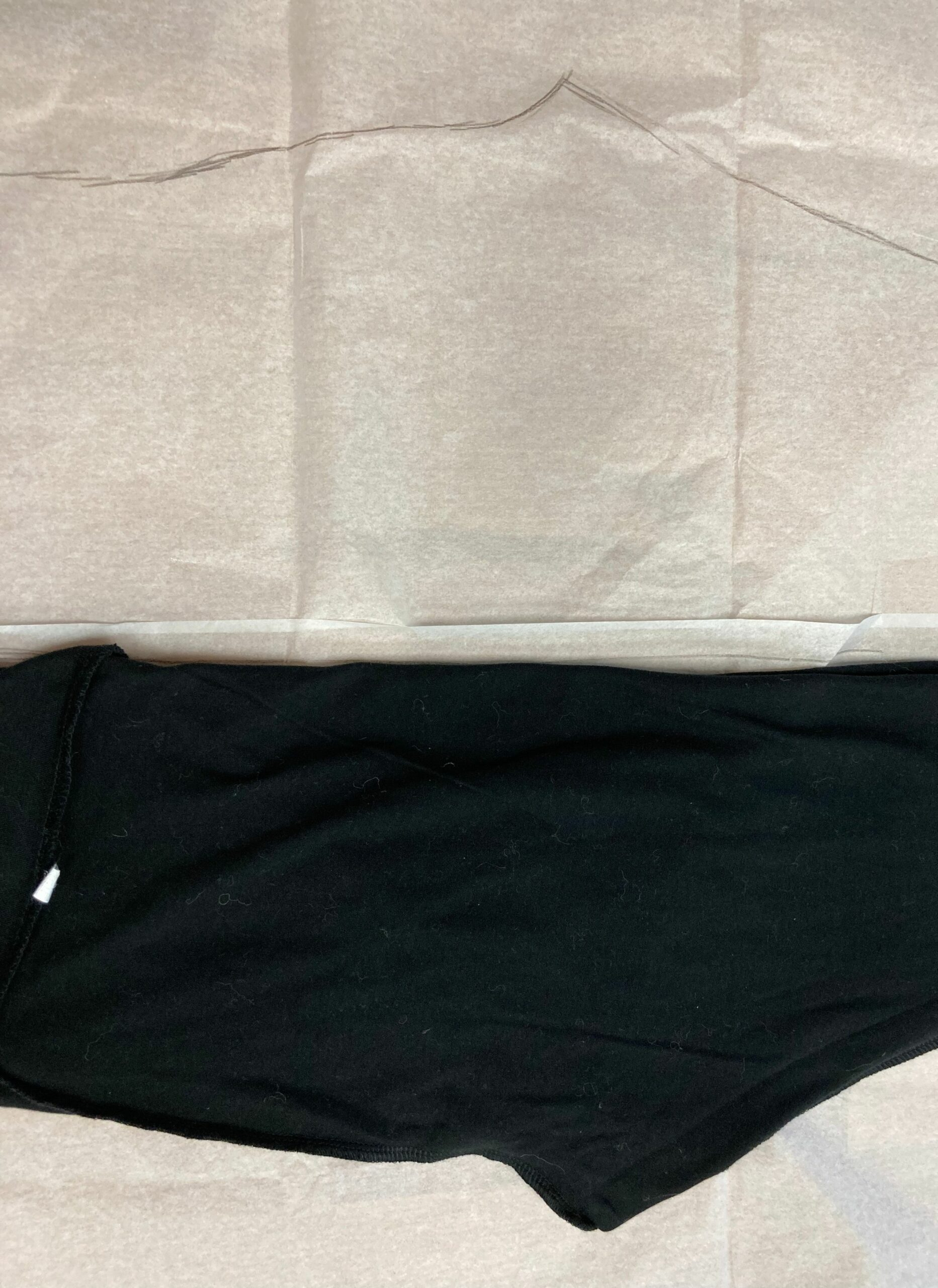 Leggings flipped over prior to tracing back side