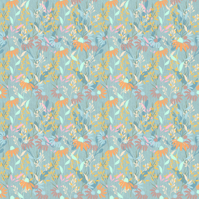 Fabric design of orange and red flowers on cool-toned background