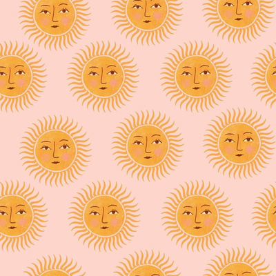 Fabric design with pink background and yellow suns with faces