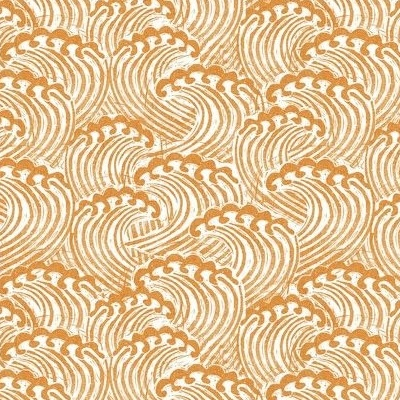 Fabric design with small white and rust colored waves