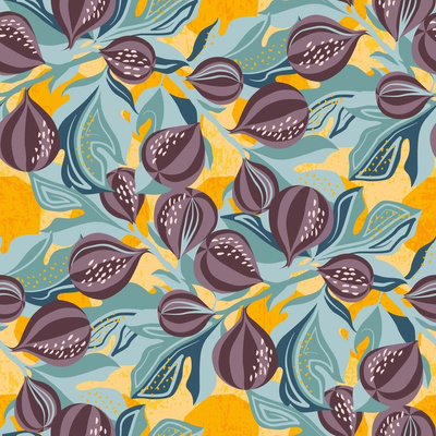 Fabric design with figs on an orange background with leaves