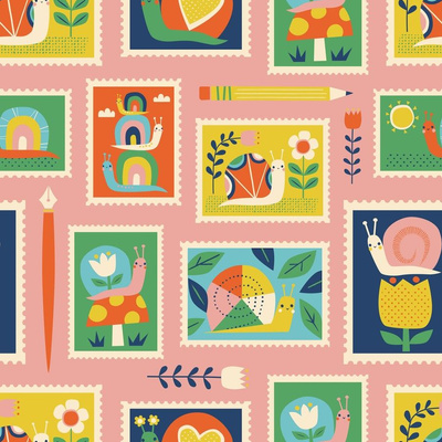 Fabric design with doodles of snails on stamps