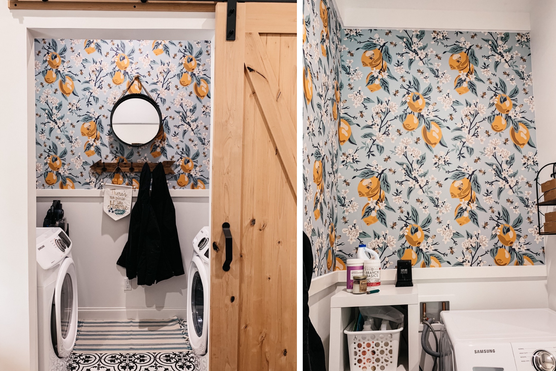 Laundry room with lemon wallpaper
