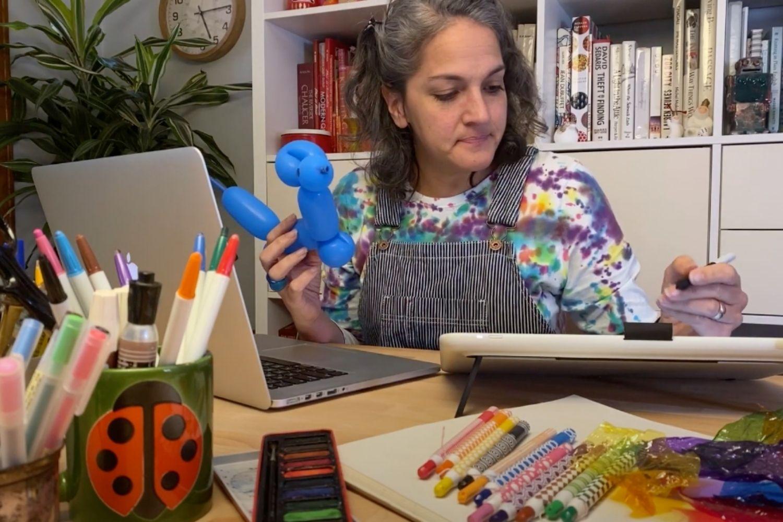 Samarra and her design workspace
