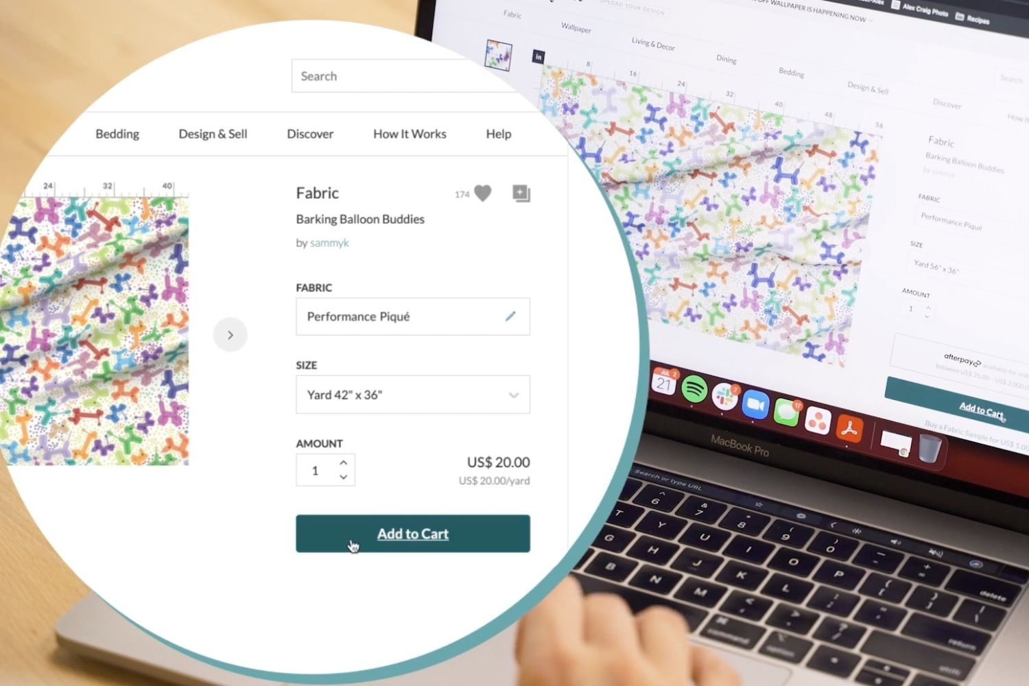 Ordering a yard of balloon animal fabric from Spoonflower.com