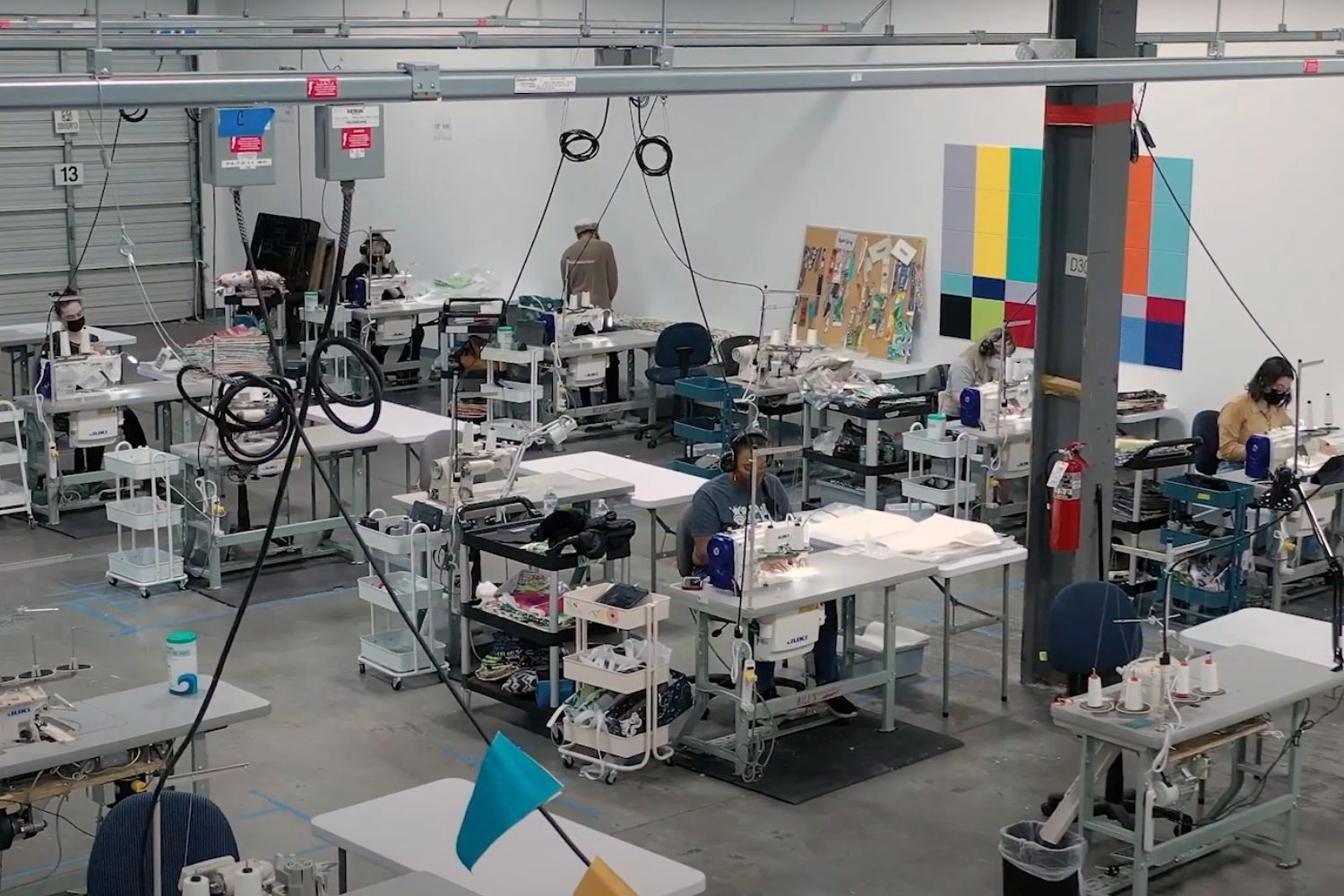 Spoonflower factory sewing stations